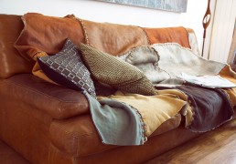 Handstitched sheepskin throw