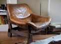 70's leather armchair