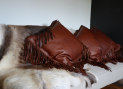 NdL fringed leather cushion